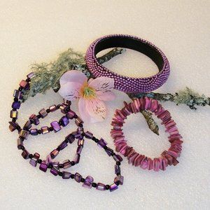 Jewelry - 4 Abalone Shell Expandable Bracelets + 1 Bangle